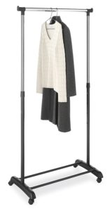 Whitmor Adjustable Garment Rack Black & Chrome with Wheels