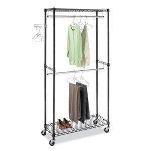 Whitmor Supreme Double Rod Garment Rack with Wheels Black & Chrome