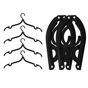 6 Pack of IPOW Black Plastic Foldable Hanger